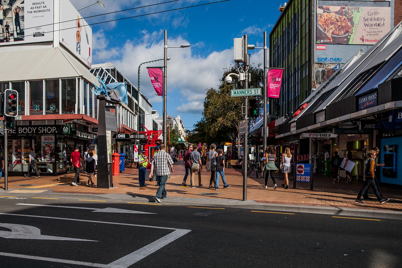 Busy crossroad at Cuba Street, Wellington, New Zealand