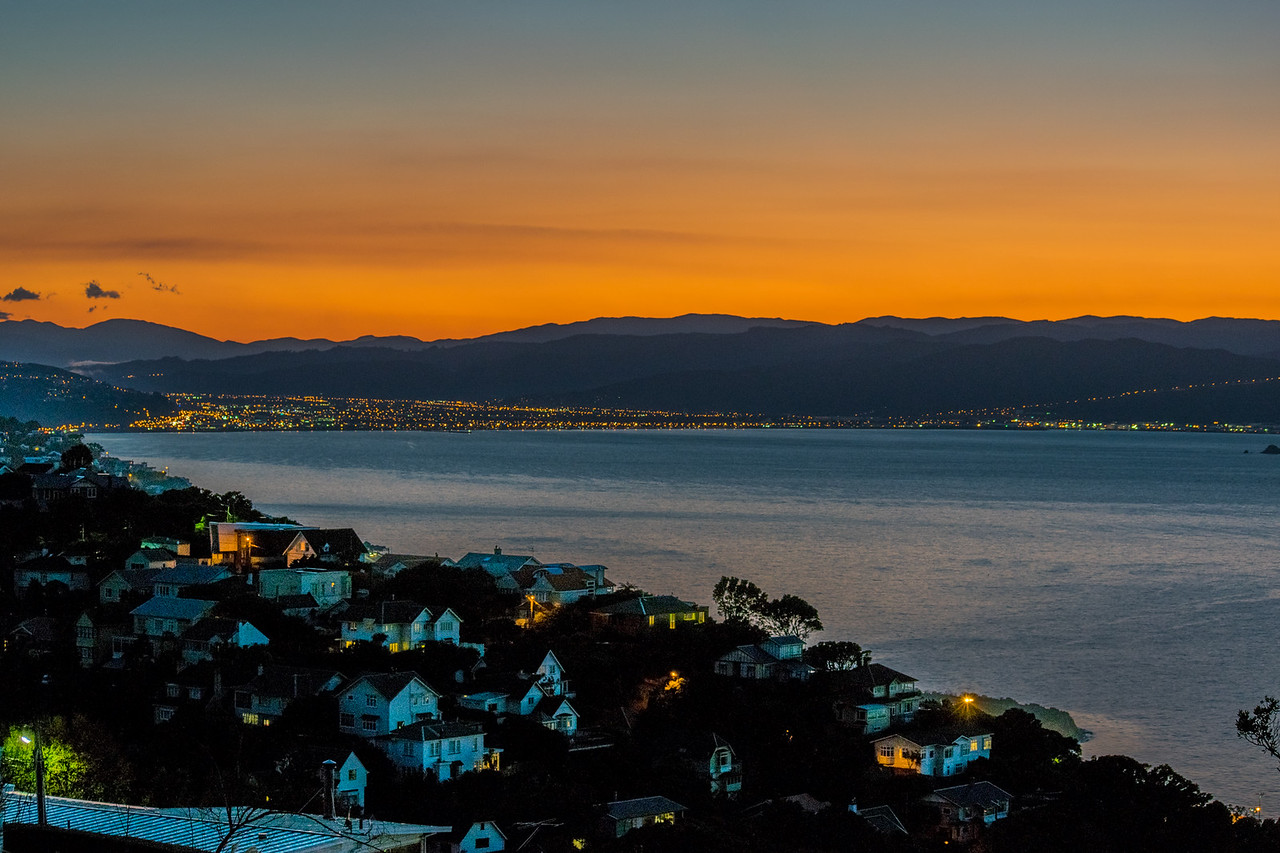 View of the Wellington harbour at sunrise, New Zealand