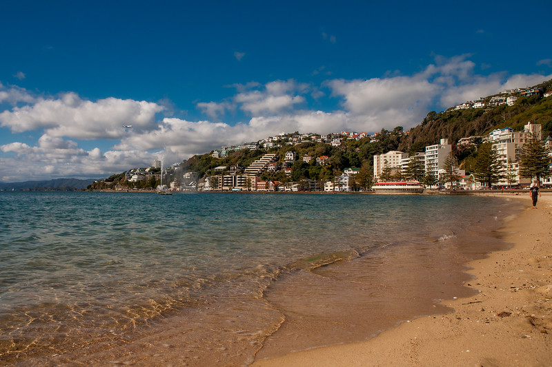 A beach at Oriental Bay, Wellington, New Zealand