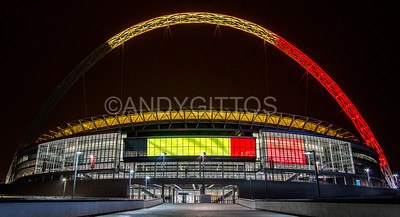 Wembley Stadium in the colours of Belgium
