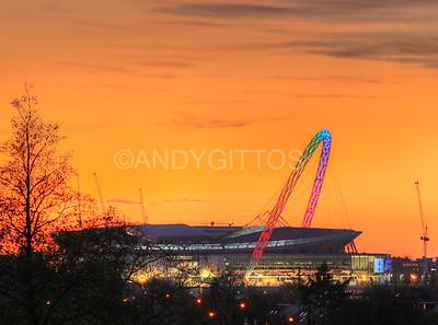 Rainbow Wembley Arch Sunset