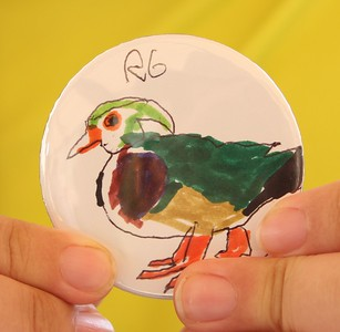 Artiistic button # 3 - a hand drawn and colored Wood Duck