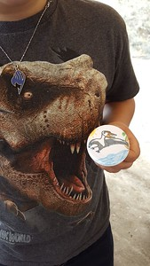 Artisitc button #4, hand drawn and colored Pterydactyl