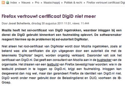 artikel DigiD en certificaat