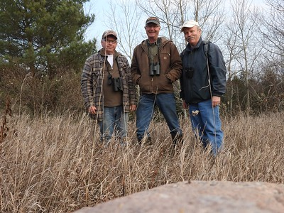 WBFN members helping with the bird count and other observations of flora and fauna , in Area 4 (Photo by Don McLeod)