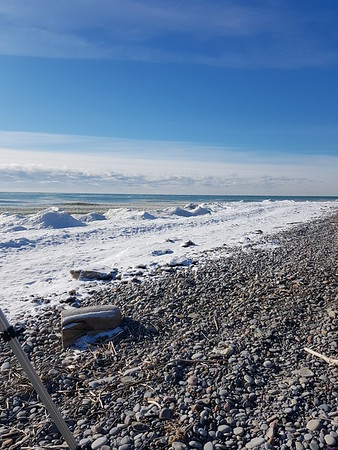 Wesleyville shoreline - view west from beach access gate , in Area 1 (Photo by Gerry McKenna)