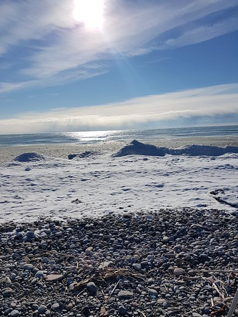 Wesleyville shoreline - view south from beach access gate , in Area 1 (Photo by Gerry McKenna)