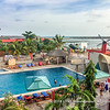 View over the swimming pool of Hotel du Lac, Cotonou, Benin