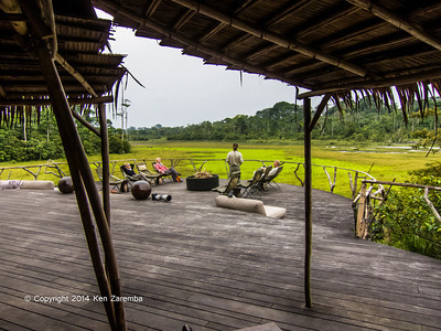 View of Lango Bai and main deck area from the Lounge area, Wilderness Odzala Lango camp, Odzala-Kokoua National Park, Mboko Concession, Republic of Congo