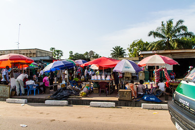 City scenes of shops and markets in Brazzaville, Capital city republic of Congo,  Department of Brazzaville, Republic of Congo