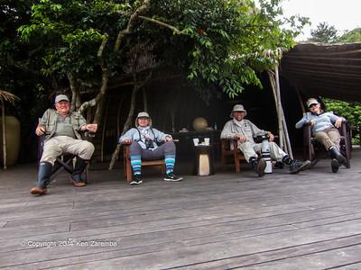 The adventuresome foursome; Ken, Teresa, Mike & Susan. Wilderness Odzala Lango camp, Odzala-Kokoua National Park, Mboko Concession, Republic of Congo