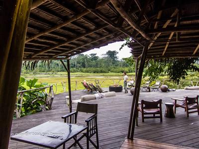 View of Lango Bai from the Dinning area, Wilderness Odzala Lango camp, Odzala-Kokoua National Park, Mboko Concession, Republic of Congo