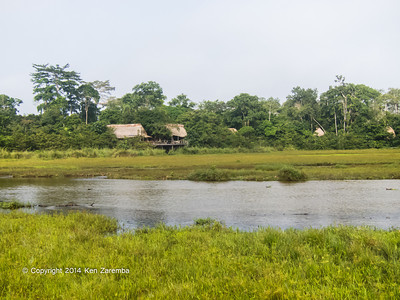 Odzala Wilderness Lango camp from across the Lango Bai, Odzala-Kokoua National Park, Mboko concession, Republic of Congo