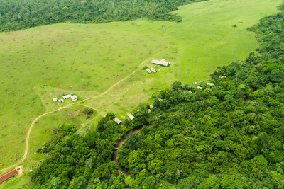 Congo Conservation Company  Mboko camp, under construction, run by Odzala Wilderness safaris, alongside the Likeni River in a savannah of the Odzala-Kokoua National Park near the Mboko airstrip.