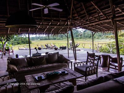 View of Lango Bai from the Lounge area, Wilderness Odzala Lango camp, Odzala-Kokoua National Park, Mboko Concession,  Republic of Congo