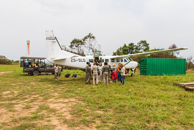 Wilderness Air arrival at Mboko airstrip,Odzala-Kokoua National Park, Republic of Congo.