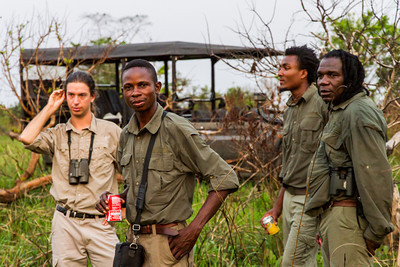 Odzala Wilderness guides, Alon, Maxwell, Carl and Patrick at our final sundowner get together. Savannah area near Wilderness Lango camp, Odzala-Kokoua National Park, Mboko concession, Department of Cuvette-Quest, Republic of Congo.