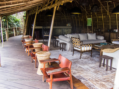 Bar and main lounge area, Wilderness Odzala Lango camp, Odzala-Kokoua National Park, Mboko Concession, Republic of Congo