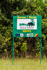 Welcoming sign to Mboko for our Wilderness Air arrival at Mboko airstrip,Odzala-Kokoua National Park, Republic of Congo.