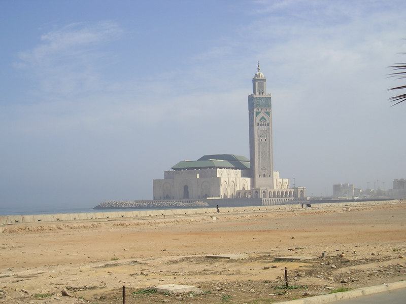 King Hassan II Mosque in Casablanca, Morocco.  It is the world's third largest religious monument, and construction on it was completed in 1993.  Costs are estimated at $600 million.