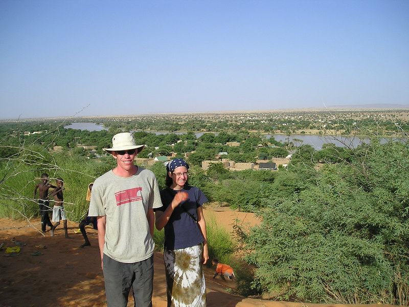 Jeremy and Rachel on the dune overlooking Kankossa.  It is so green here, and there's water!