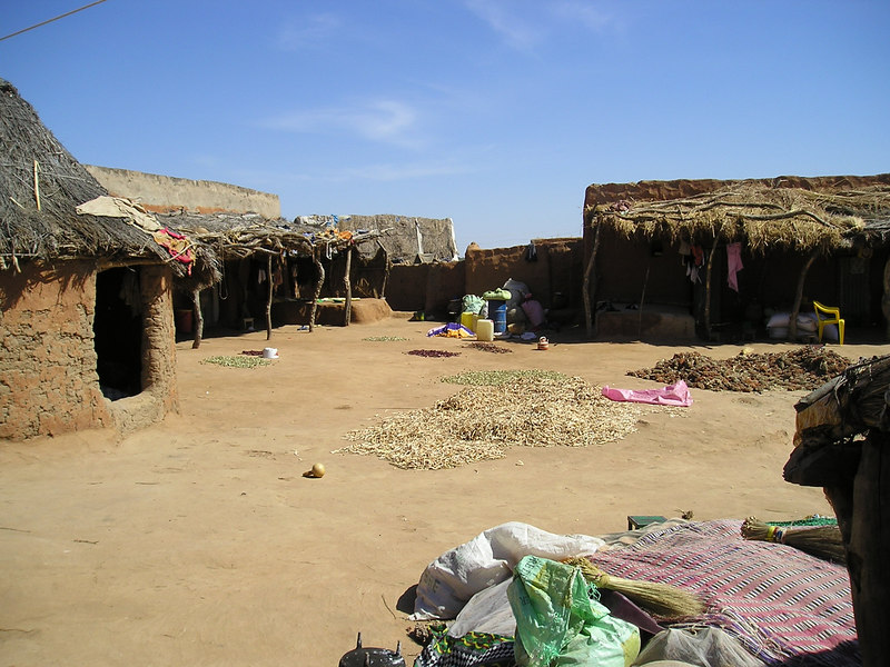 On our way out of Mauritania; we went by land south of Kiffa, through Kankossa and Selibabi.  Our pick-up broke down, and we had to spend the night in this Soninke village.