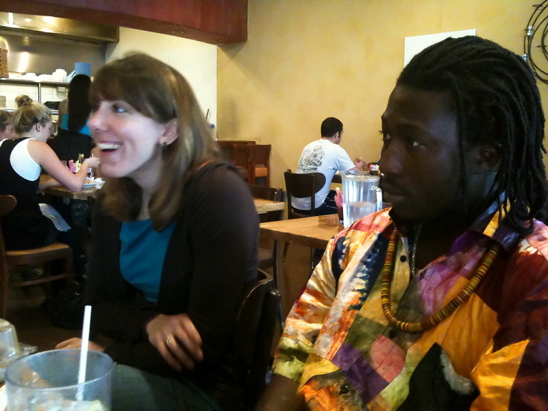 Lunch at Pita Jungle - Laura & Amara, Scottsdale, February 2010<br /> (iPhone snapshot)