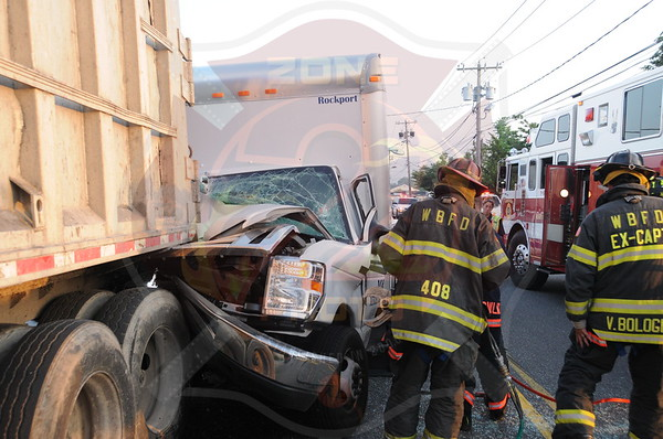 West Babylon F.D. MVA w/ Box Truck into Tractor Trailer North Queens Ave. 6/18/13