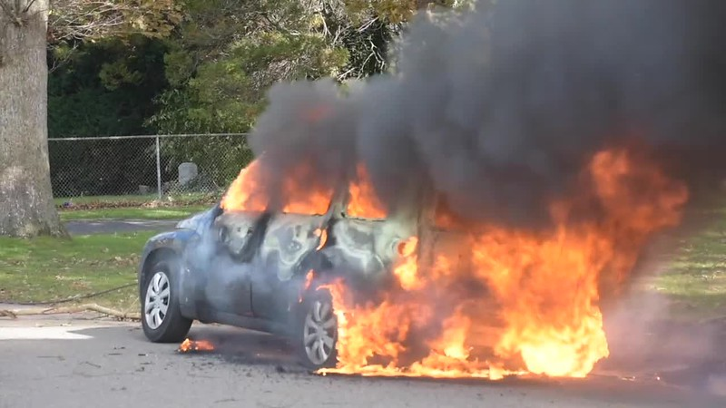 West Babylon Car Fire from Fallen Power Line- Paul Mazza
