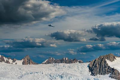 Helicopter flying over Franz Josef Glacier
