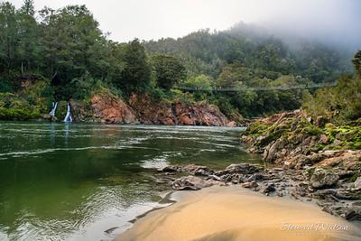 Waterfalls in the Upper Buller gorge swing bridge