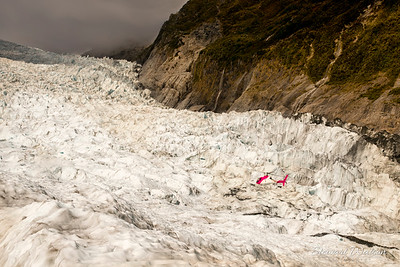 Helicopter flying over Fox Glacier