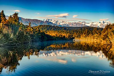 Okarito Lagoon reflections, West Coast