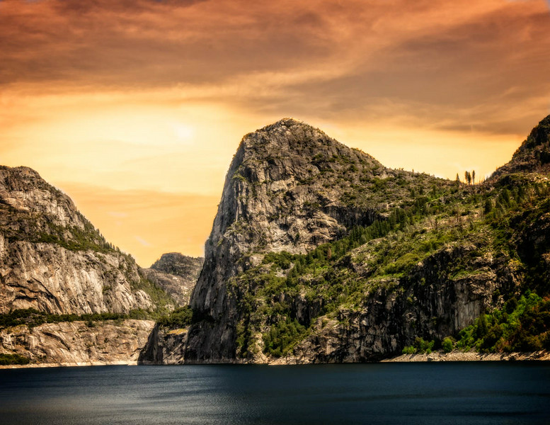 Hetch Hetchy - Lake at Sunset-