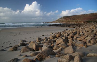 Large stones on Gwynver Beach