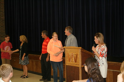 Eight graders at West Intermediate receive awards Thursday morning.