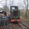 After i pushed the wagon with the diesel all way to end of line and <br /> <br /> went past through the points onto the run round. We then had the <br /> <br /> back breaking task of clearing all the leaves in the trench and <br /> <br /> putting down extra new Water proof membrane and adding and <br /> <br /> extending  the drainage pipe before burying the lot with spoil <br /> <br /> Mike can be seen shovelling for all he worth in between shovelling i <br /> <br /> was tasked to move the Planet back and forth