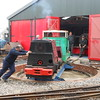 "Tawd & Mill Reef Diesels being turned on Turntable <br /> <br />  loco nearest camera <br /> <br /> no 2<br /> <br /> Name: Tawd <br /> <br /> Built by: Ruston & Hornsby <br /> <br /> Engine:  20HP Diesel<br /> <br /> Works No. 222074<br /> <br /> Built: 1943<br /> <br /> This Loco was an Ex War department Loco which while under there <br /> <br /> ownership carried the number HL6178. It ended it's days at <br /> <br /> Burscough Brick & Tile Co<br /> <br /> Back loco <br /> <br /> Loco no 27<br /> <br /> Mill Reef<br /> <br /> Maker <br /> <br /> Motor Rail Ltd <br /> <br /> Info on this Company below <br /> <br />  <a href=""https://en.wikipedia.org/wiki/Motor_Rail"">https://en.wikipedia.org/wiki/Motor_Rail</a><br /> <br /> Engine <br /> <br /> 20 / 28HP Diesel <br /> <br /> Wrks No <br /> <br /> 7371 <br /> <br /> Build date <br /> <br /> 1939 <br /> <br /> History of this Loco below <br /> <br /> This Loco represents a fairly standard product built by the Motor Rail <br /> <br /> Locomotive company. It spent it's life working on an sand quarry in <br /> <br /> Bedfordshire <br /> <br /> Loco Arrived at the West Lancs on 14th Nov 1981"