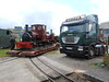 Tractor unit and steam Loco Statfold on the front of the trailer waiting to <br /> <br /> be unloaded