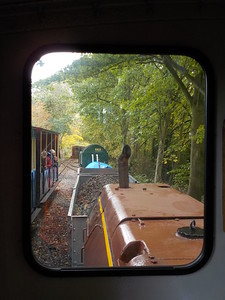 view from cab window at Delph siting in the loop with the passenger   train waiting to leave on the right