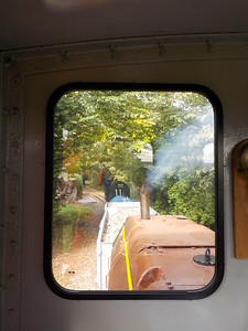 Drivers eye view from the window as the mines loco leads back to the   Loop by carriage shed