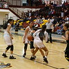 Santa Fe Indian School's Camilla Lewis, back, and Iris Emery, front, double team West Las Vegas' Briana Marquez, center, during the first quarter of the West Las Vegas High School vs Santa Fe Indian School girls basketball game on Wednesday, February 27, 2019. Luis Sánchez Saturno/The New Mexican