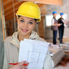 Young woman in construction professional training