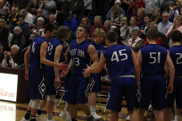 West Lyon boys' basketball vs. Western Christian in the Class 2A District 2 boys' basketball tournaments 2-15-18