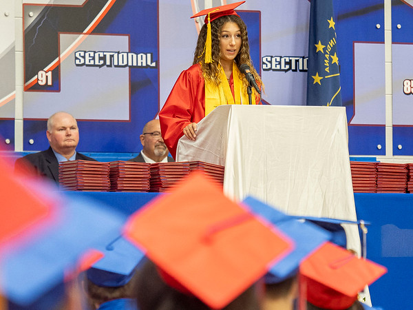 West Noble class of 2021 treasurer Olivia McDonald delivers a speech during Friday's  West Noble High School Class of 2021 Commencement at West Noble High School in Ligonier.