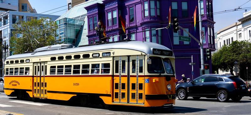 Tram and purple, Mission, San Francisco, USA
