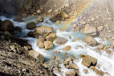 Rainbow and waterfalls, Jasper National Park, Alberta, Canada
