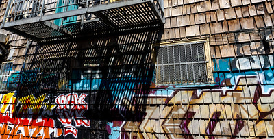 Shadows and street art, Mission, San Francisco, USA