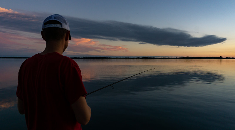 Mike goes fishing, Howe Island, Lake Ontario, Canada