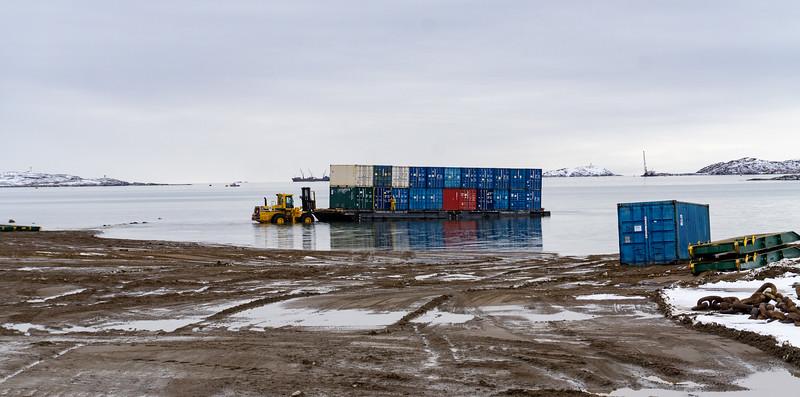 Moving sea lifts, Iqaluit, Nunavut